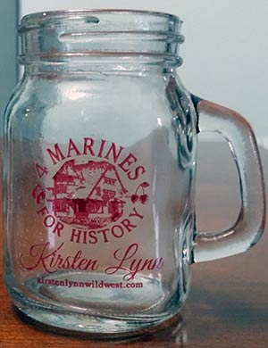 4 Marines For History  mason jar shot glass, clear with maroon logo